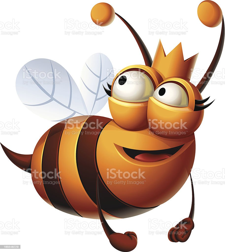 Queen Bee: Flying vector art illustration
