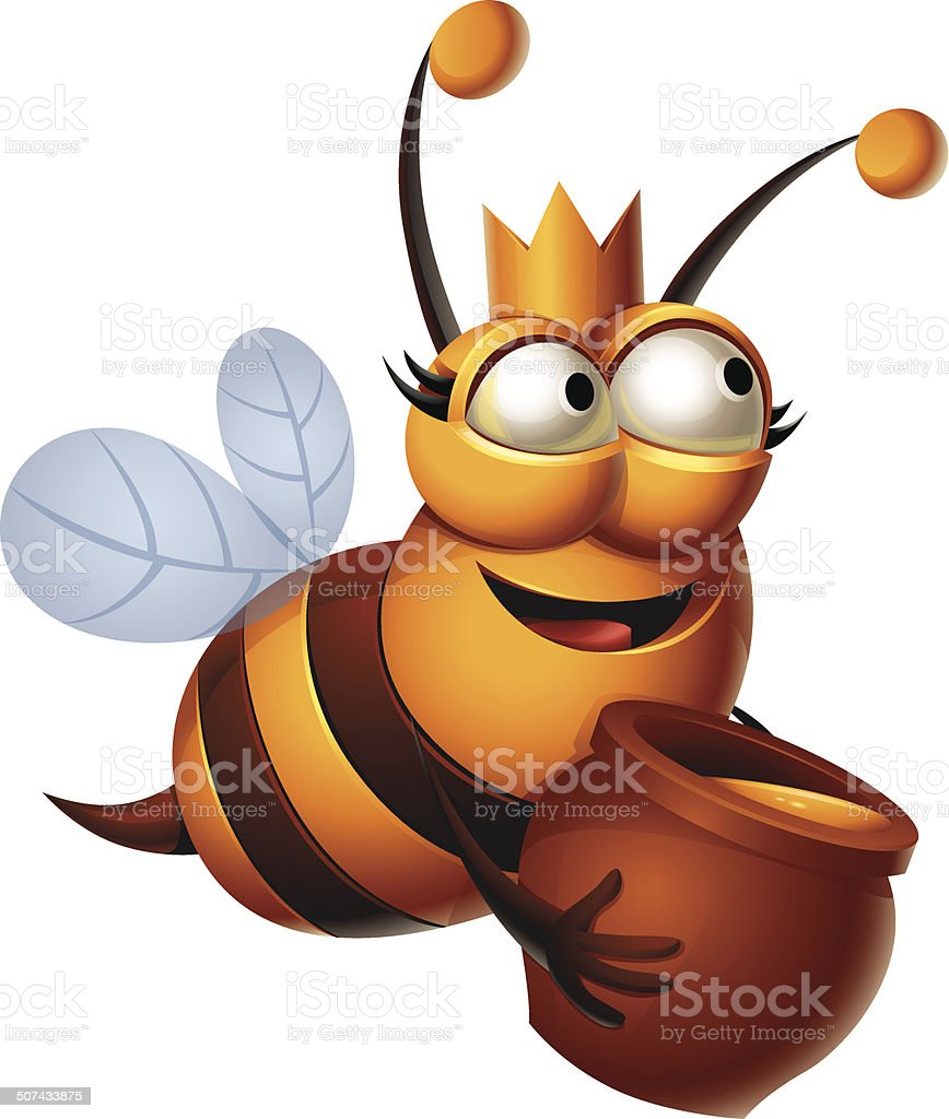 Queen Bee: Honey vector art illustration
