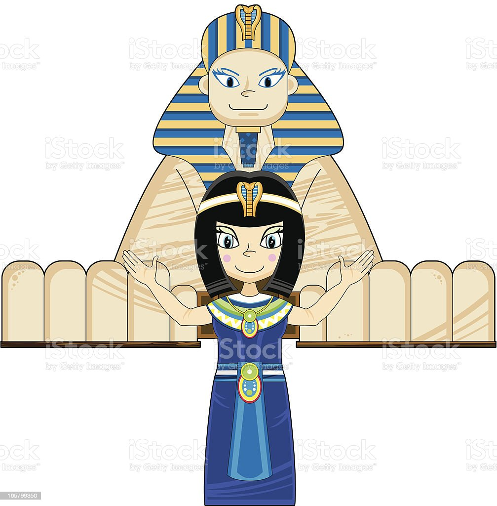 Queen Cleopatra and the Great Sphinx royalty-free stock vector art
