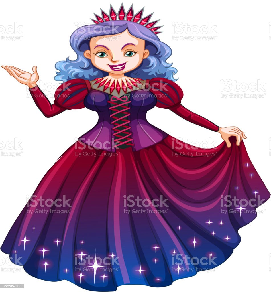 Queen in beautiful red dress vector art illustration