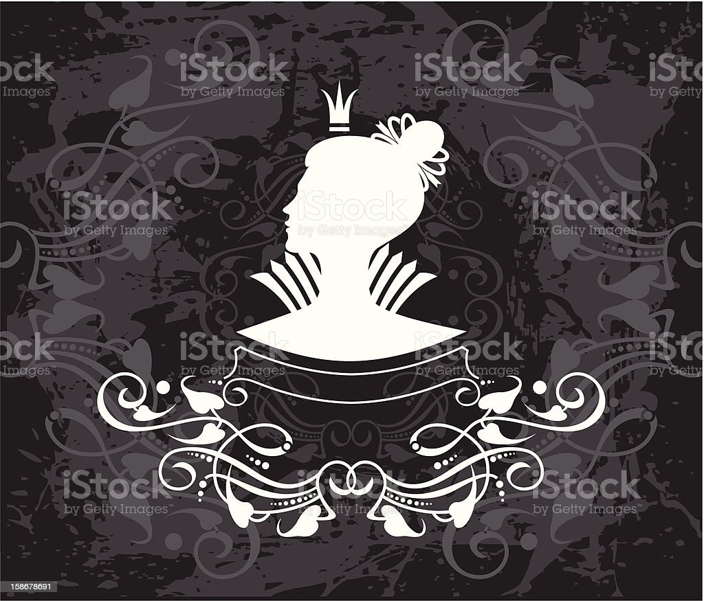 queen  line Profile royalty-free stock vector art