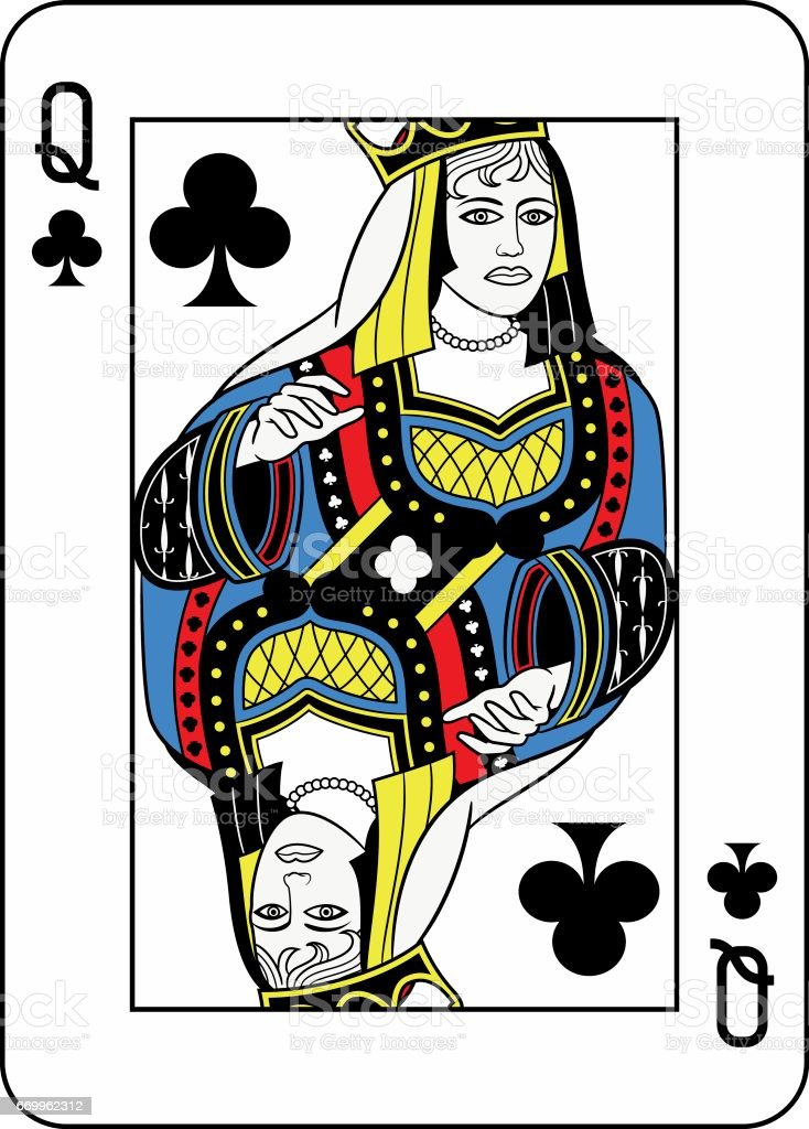 Queen of Clubs French Version vector art illustration