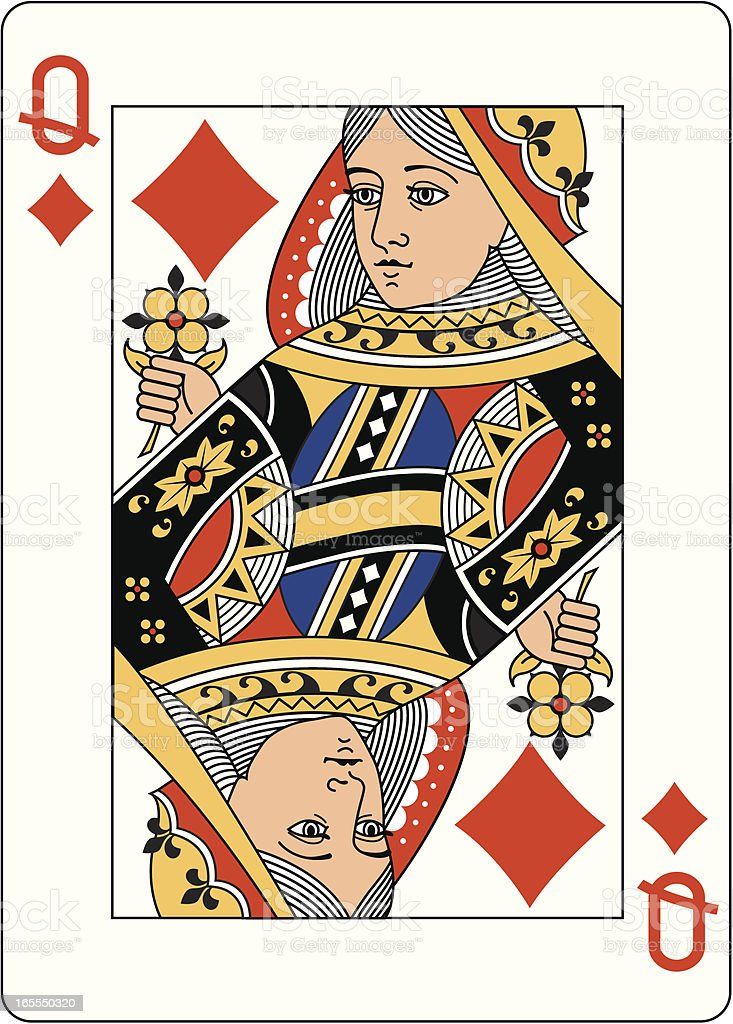 Queen of Diamonds Two playing card vector art illustration