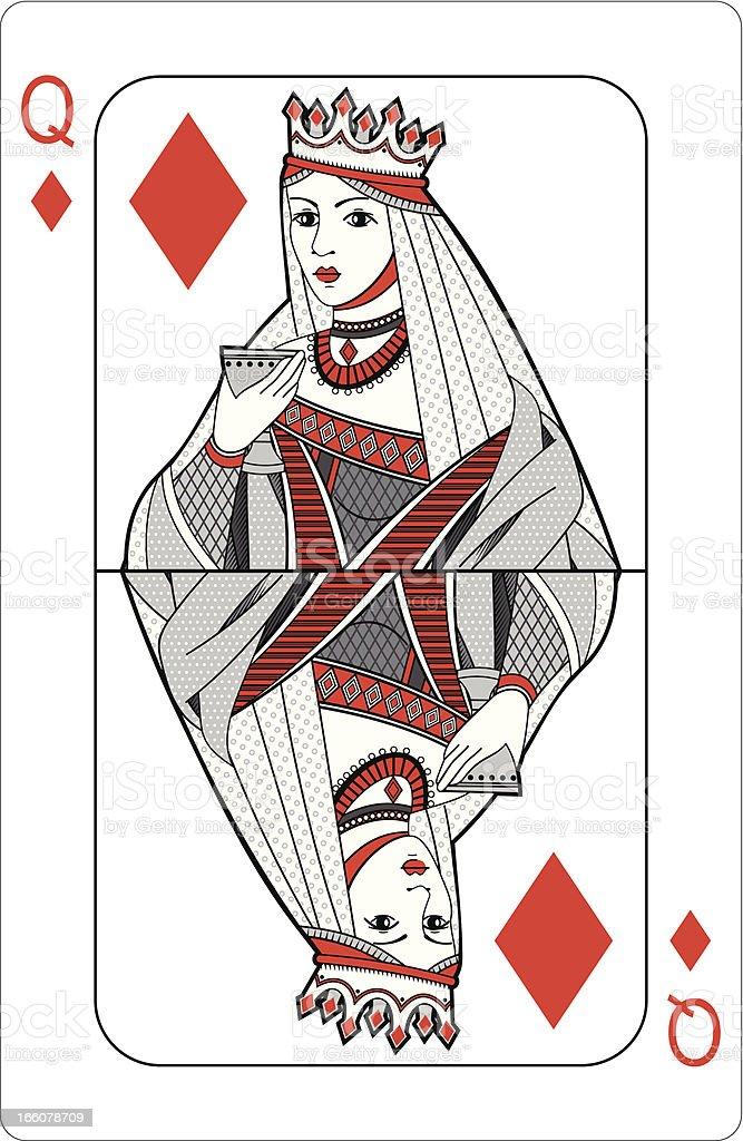 Queen of diamonds. vector art illustration