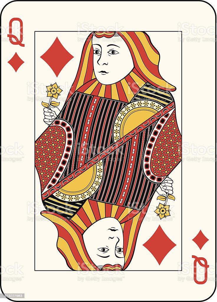 Queen of diamonds vector art illustration