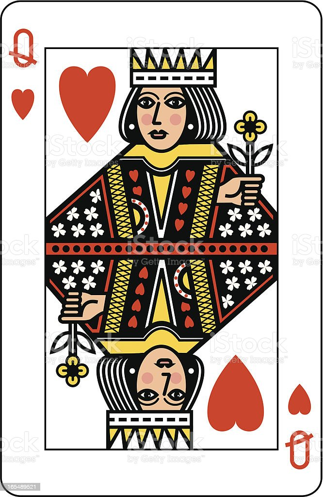 Queen of Hearts Playing Card royalty-free stock vector art