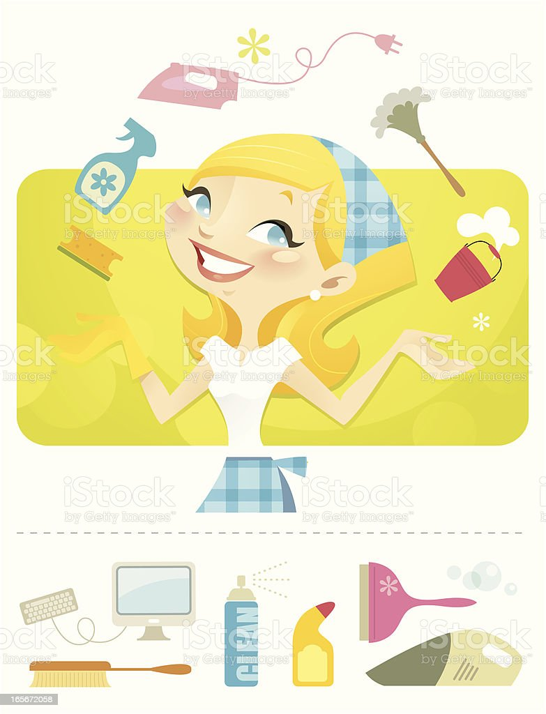 Queen of Juggling (House Keeping) royalty-free stock vector art