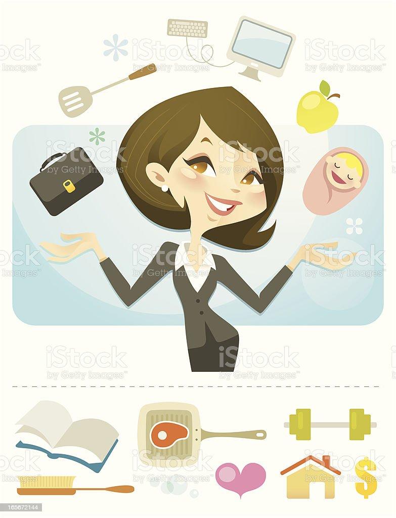 Queen of Juggling vector art illustration