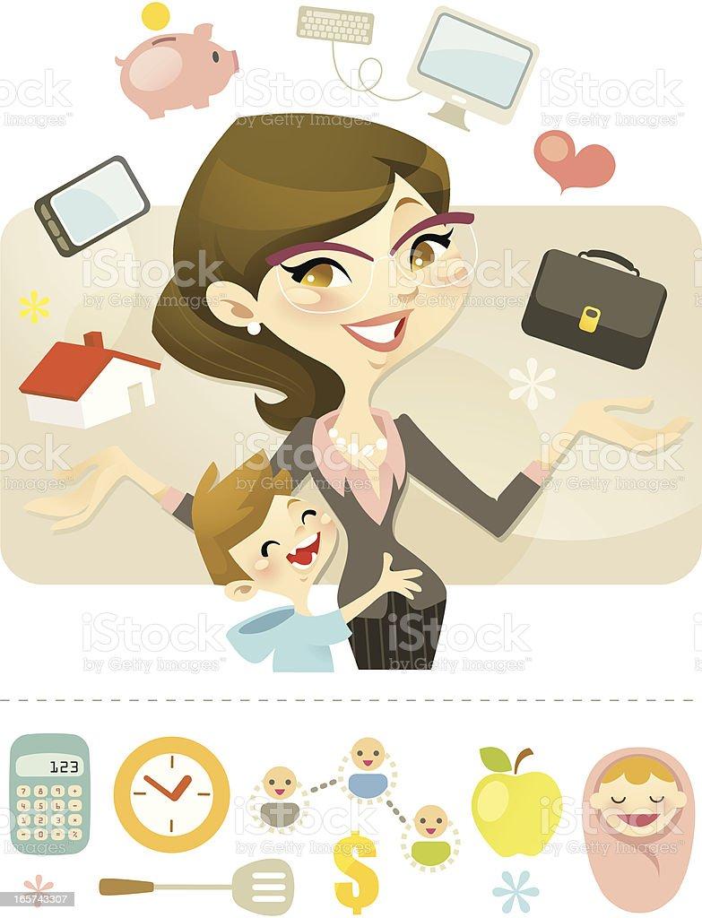 Queen of Juggling (Career Mum) vector art illustration