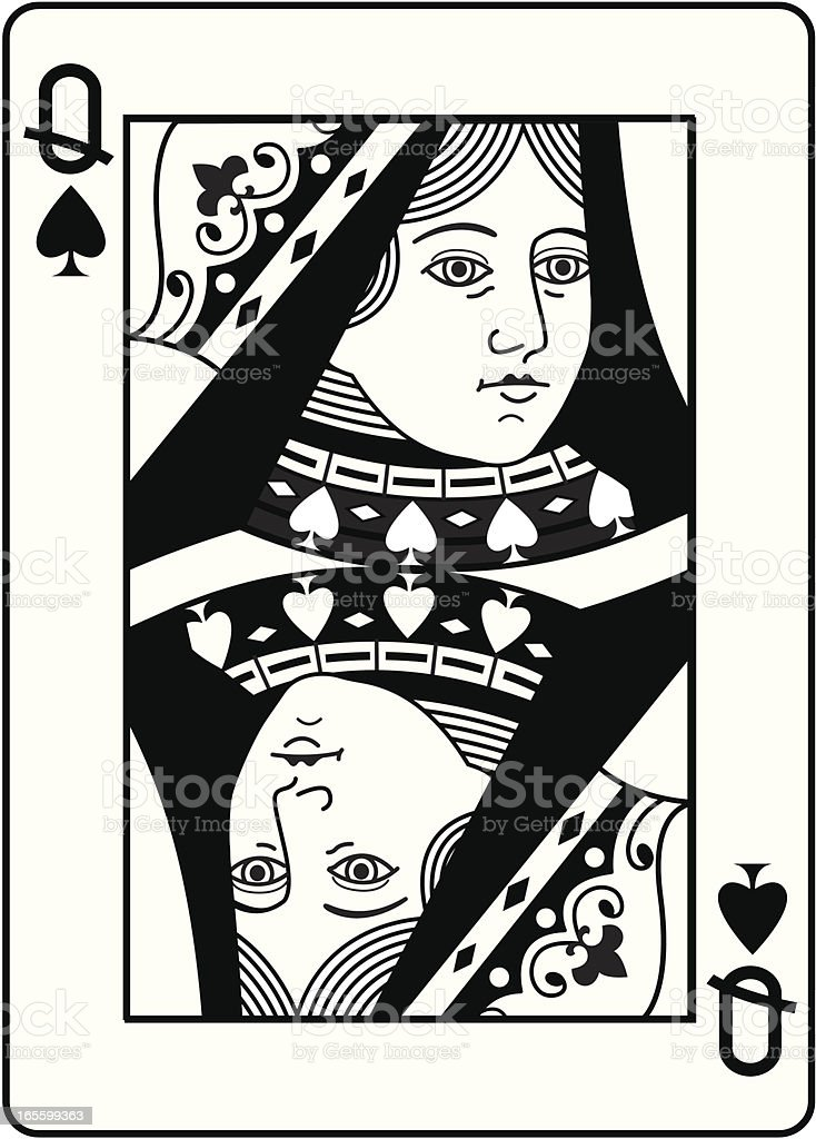 Queen of Spades black and white head. vector art illustration
