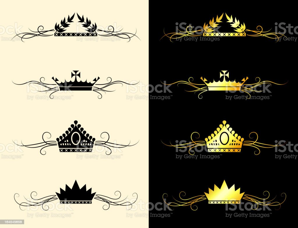 Queen Royal crown gold & black and white banner set royalty-free stock vector art