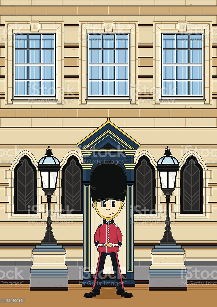 Queens Guard at Palace Gate royalty-free stock vector art
