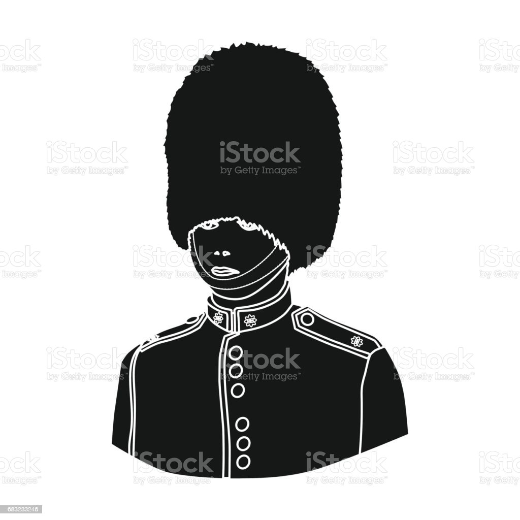 Queen's guard icon in black style isolated on white background. England country symbol stock vector illustration. vector art illustration