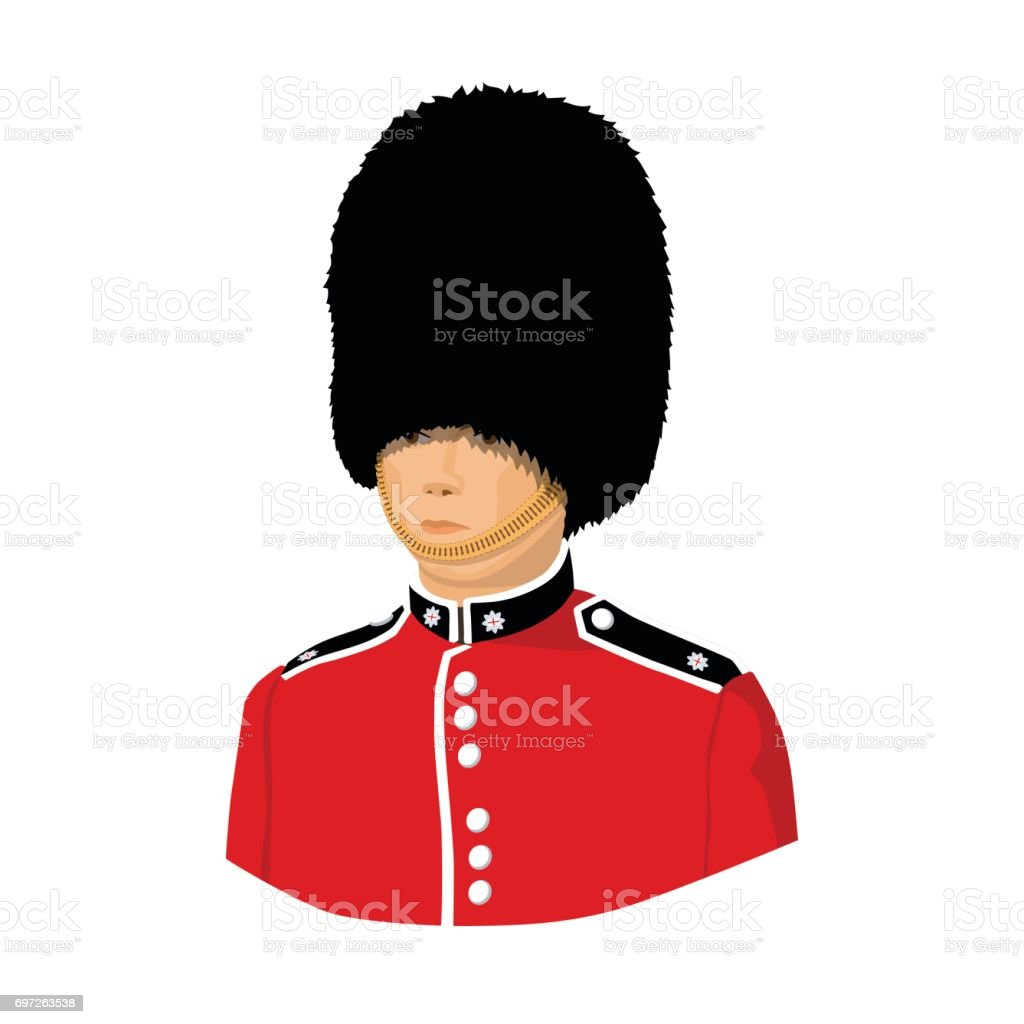 Queen's guard icon in cartoon style isolated on white background. England country symbol stock vector illustration. vector art illustration