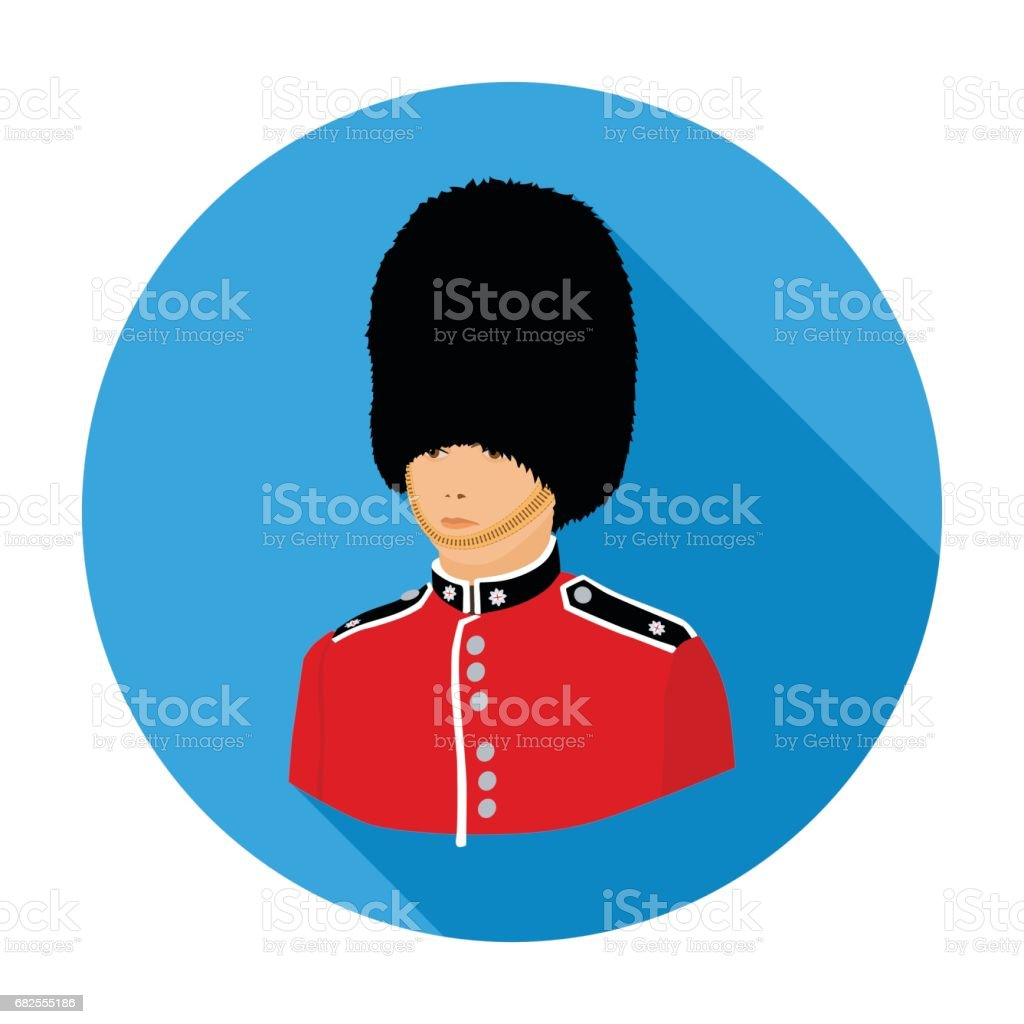 Queen's guard icon in flat style isolated on white background. England country symbol stock vector illustration. vector art illustration