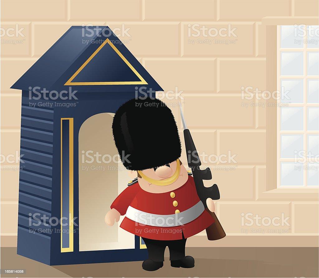 Queen's Guard in Action vector art illustration