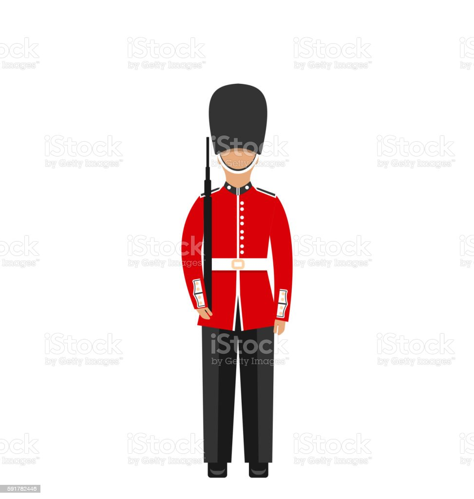 Queen's Guard. Man in Traditional Uniform with Weapon, British vector art illustration
