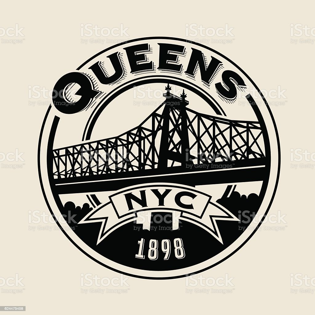 T shirt design queens ny - Queens New York City T Shirt Or Print Typography Design Royalty Free