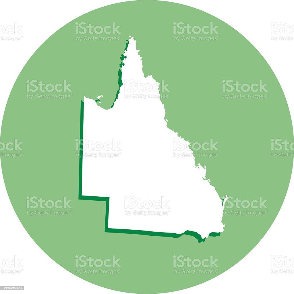 Queensland Round Map Icon vector art illustration