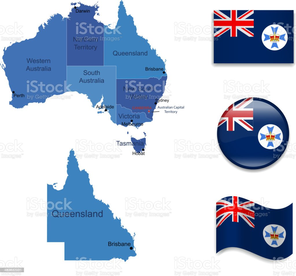 Queensland state set royalty-free stock vector art
