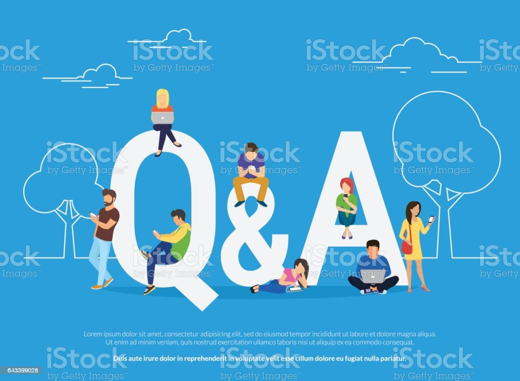 Question and answer concept illustration of young people standing near letters vector art illustration