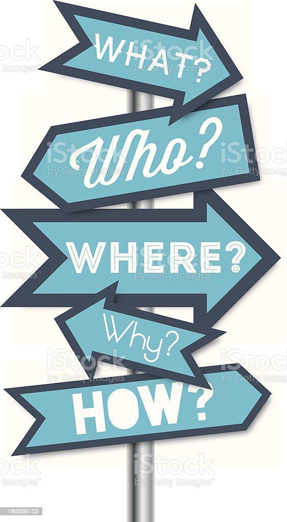 Question arrows vector art illustration