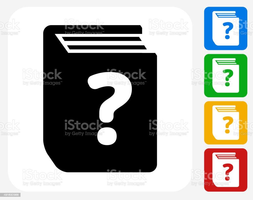 Question Book Icon Flat Graphic Design vector art illustration