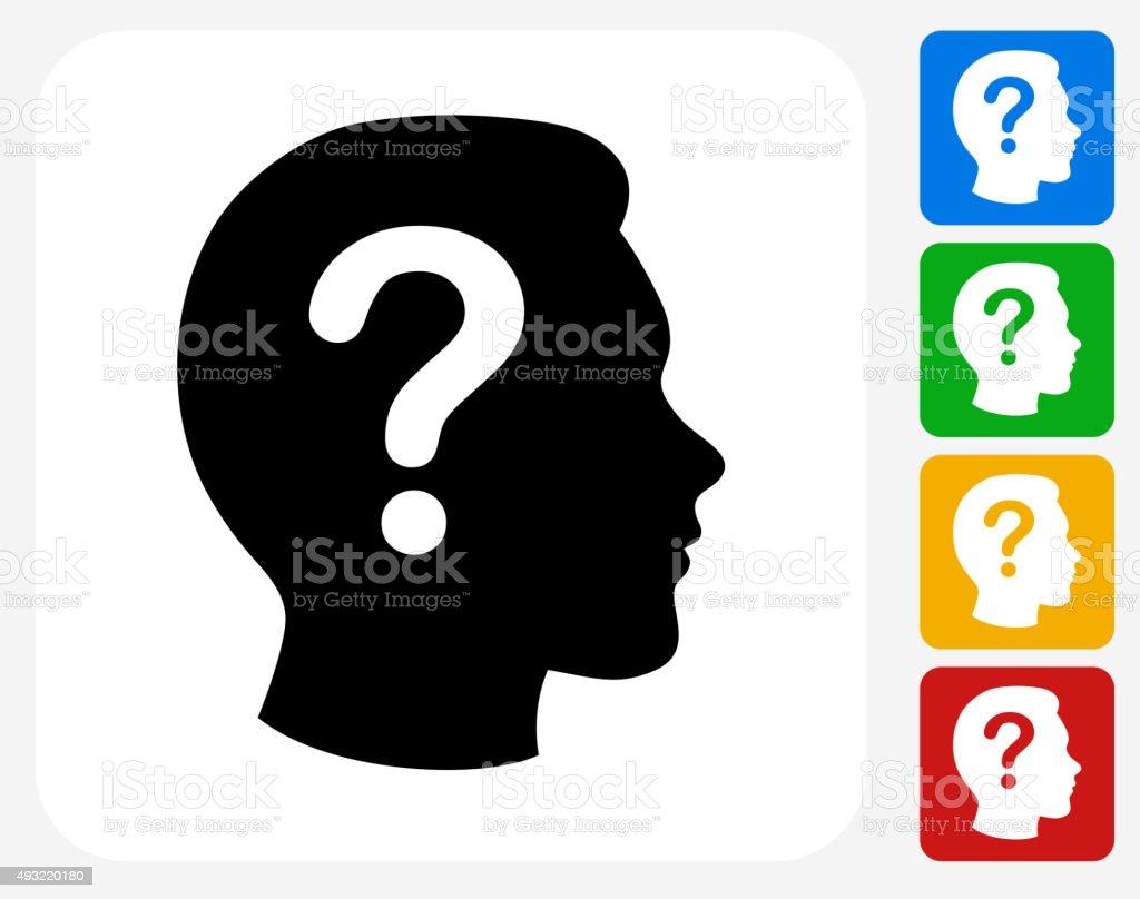 Question Face Icon Flat Graphic Design vector art illustration