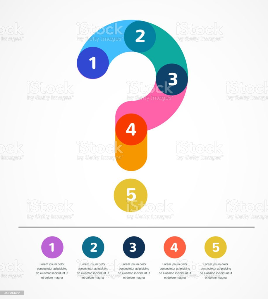 Question mark abstract background infographic vector art illustration