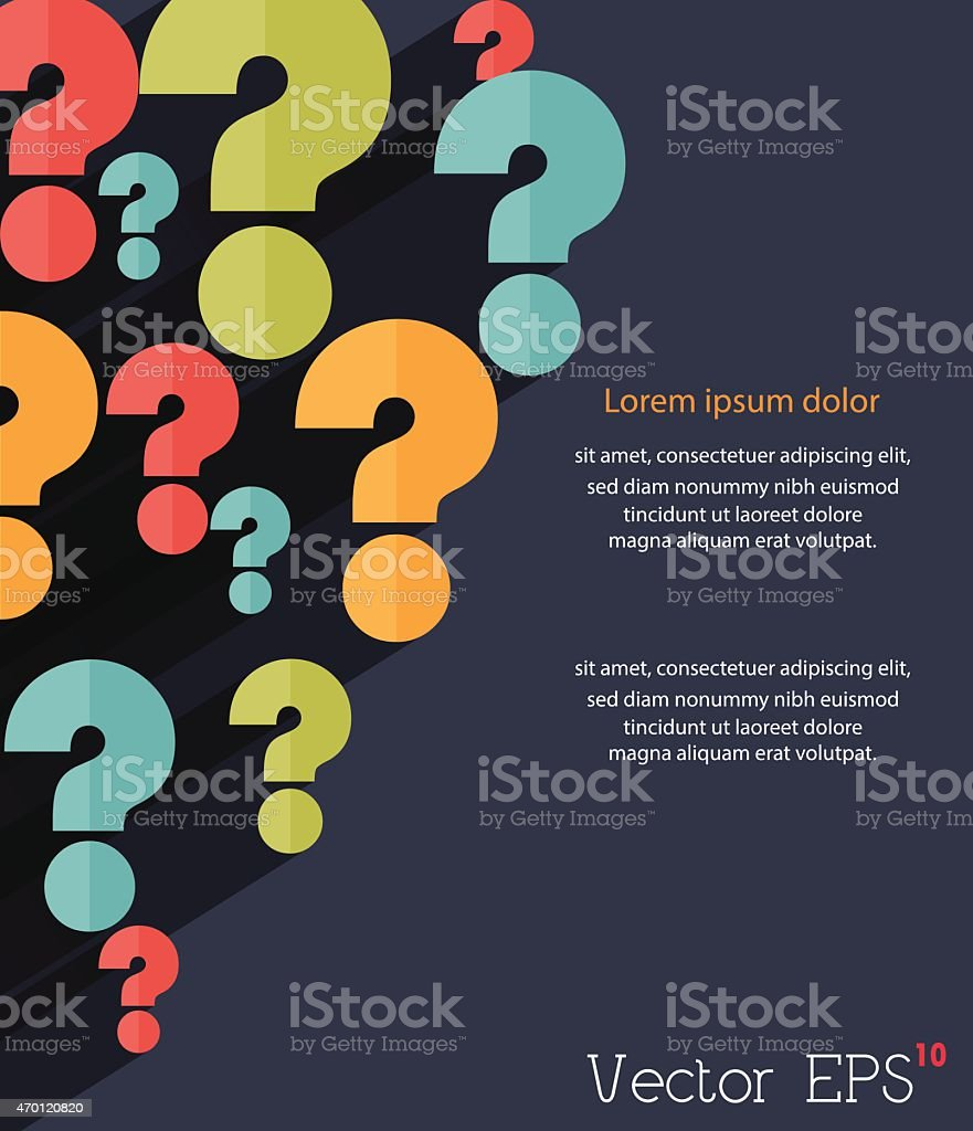 Question mark background, retro style. vector art illustration