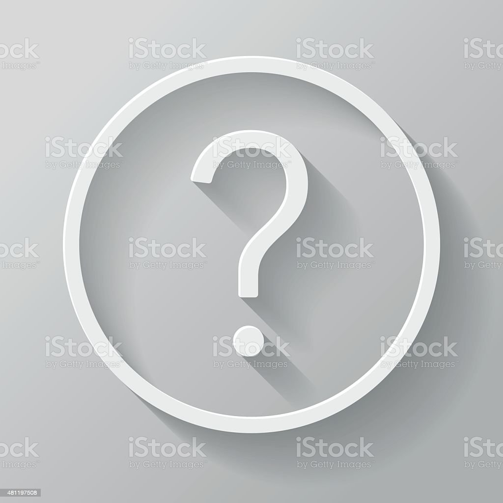 Question Mark Paper Thin Line Interface Icon With Long Shadow vector art illustration