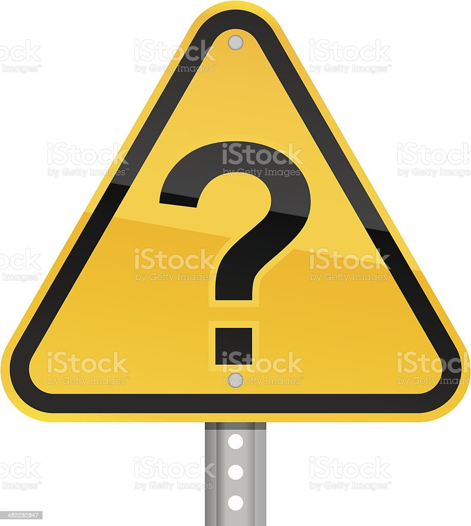 Question mark pictogram warning triangle yellow road sign white background royalty-free stock vector art