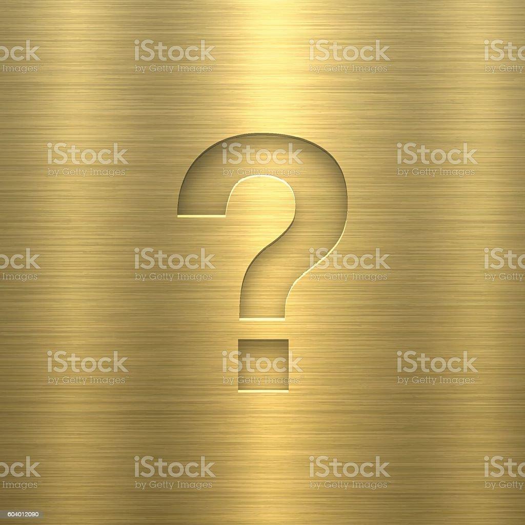 Question Mark ? - Symbol on Gold Metal Texture vector art illustration