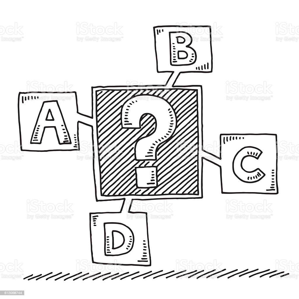 Question Mark Uncertainty Four Options Drawing vector art illustration