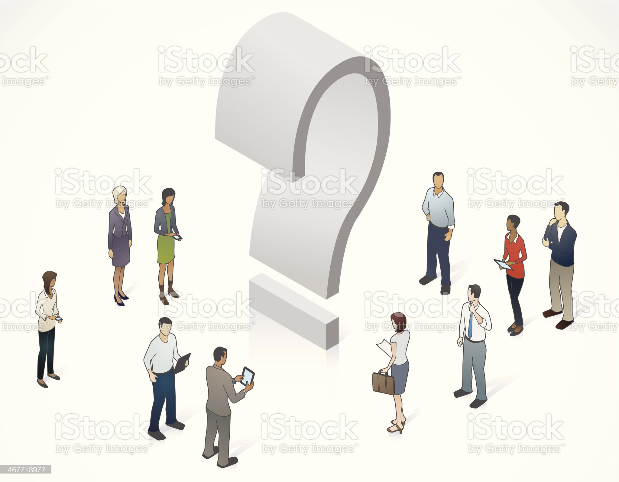 Question Mark with People Illustration royalty-free stock vector art