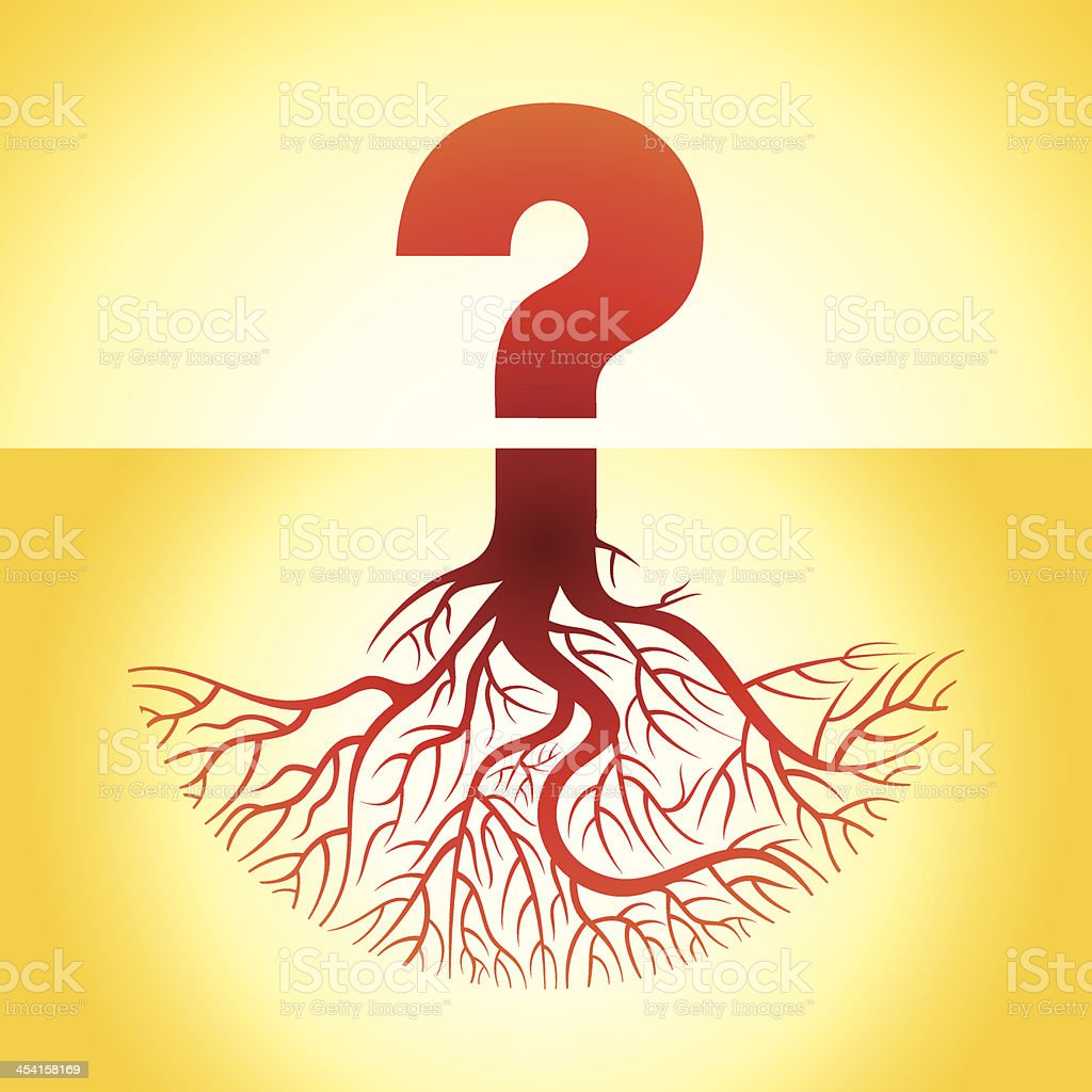 question mark with roots vector art illustration