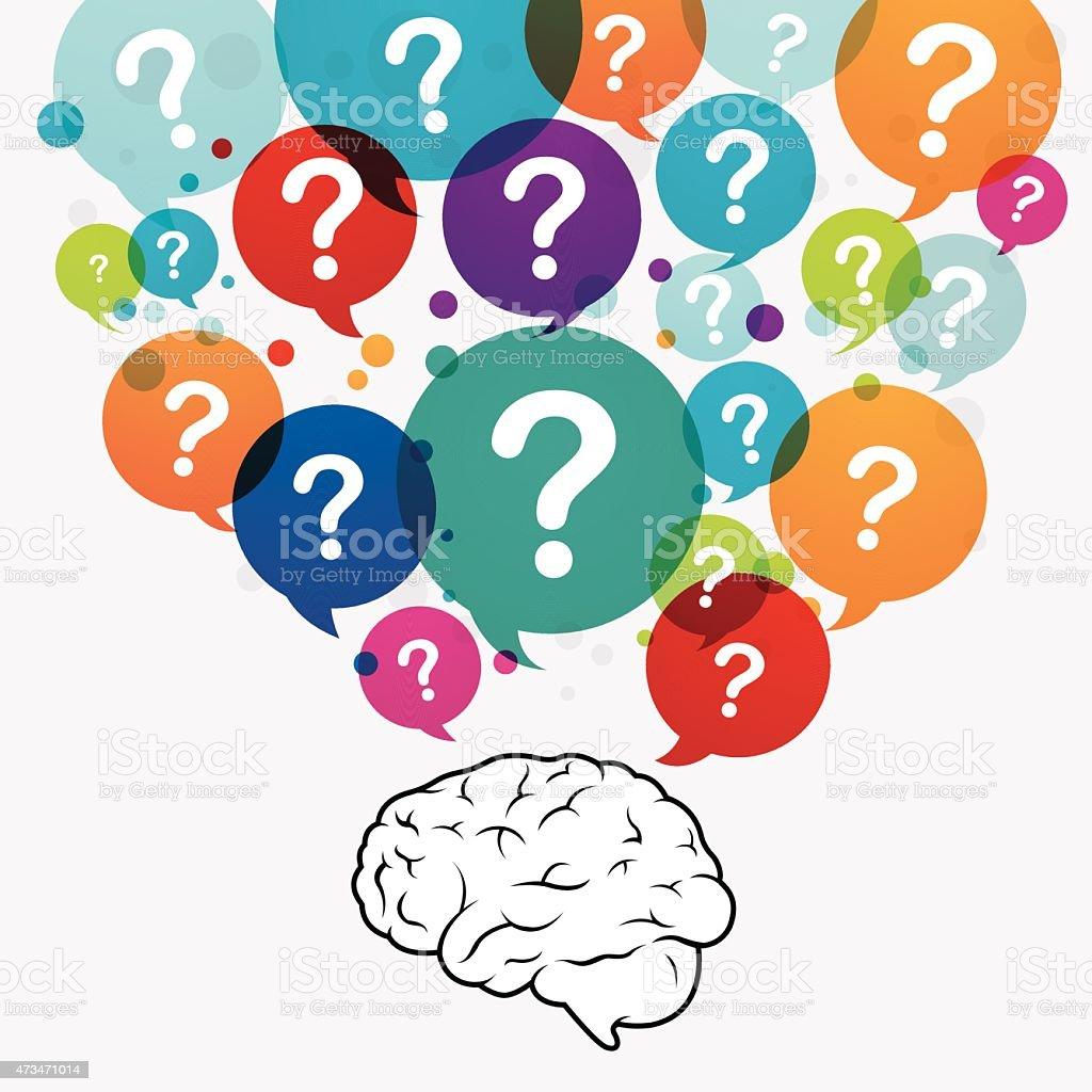Questioning brain vector art illustration