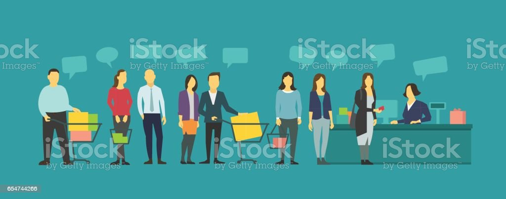 Queue different people in grocery store. Crowd staying in line vector art illustration