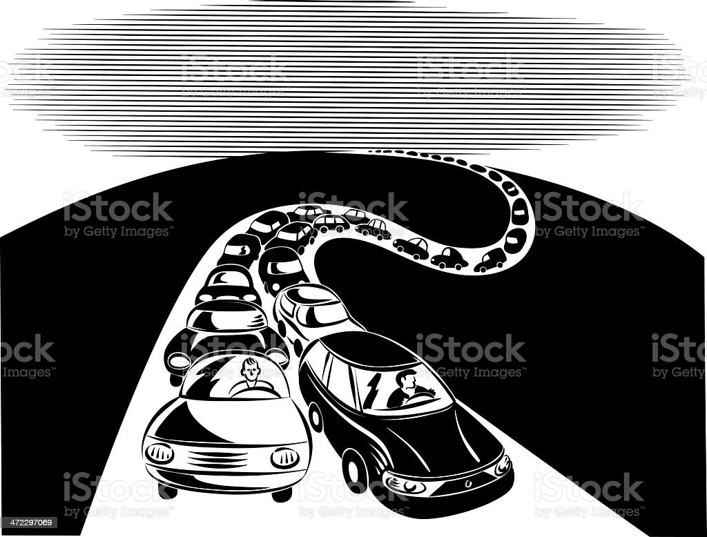 queue of cars royalty-free stock vector art