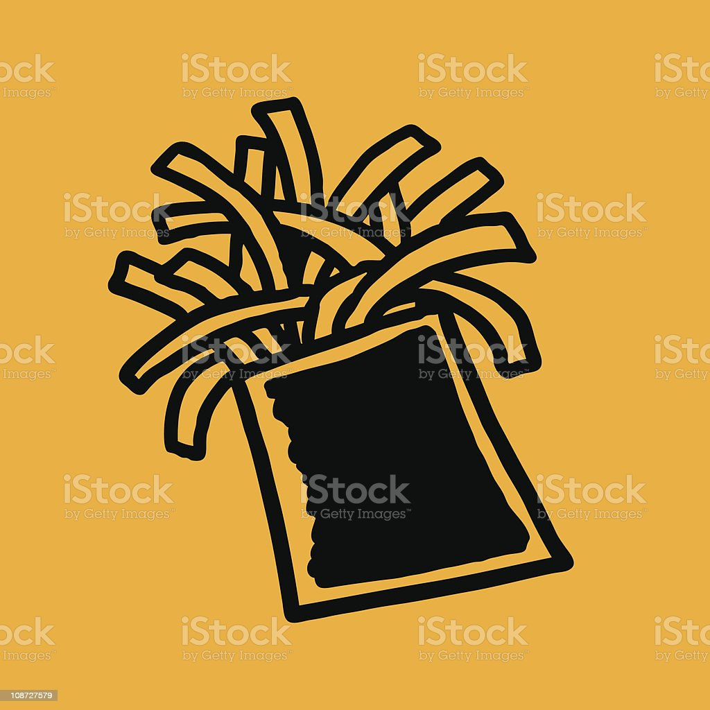 Quick-Sketch French Fries Icon royalty-free stock vector art