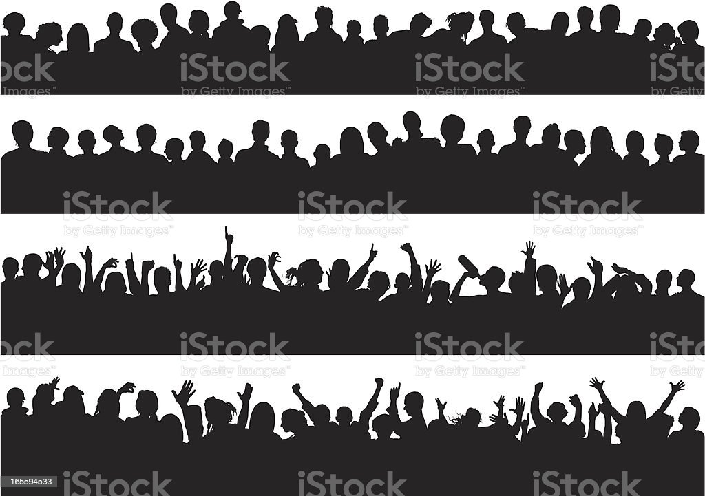 Quiet and Loud Crowds vector art illustration