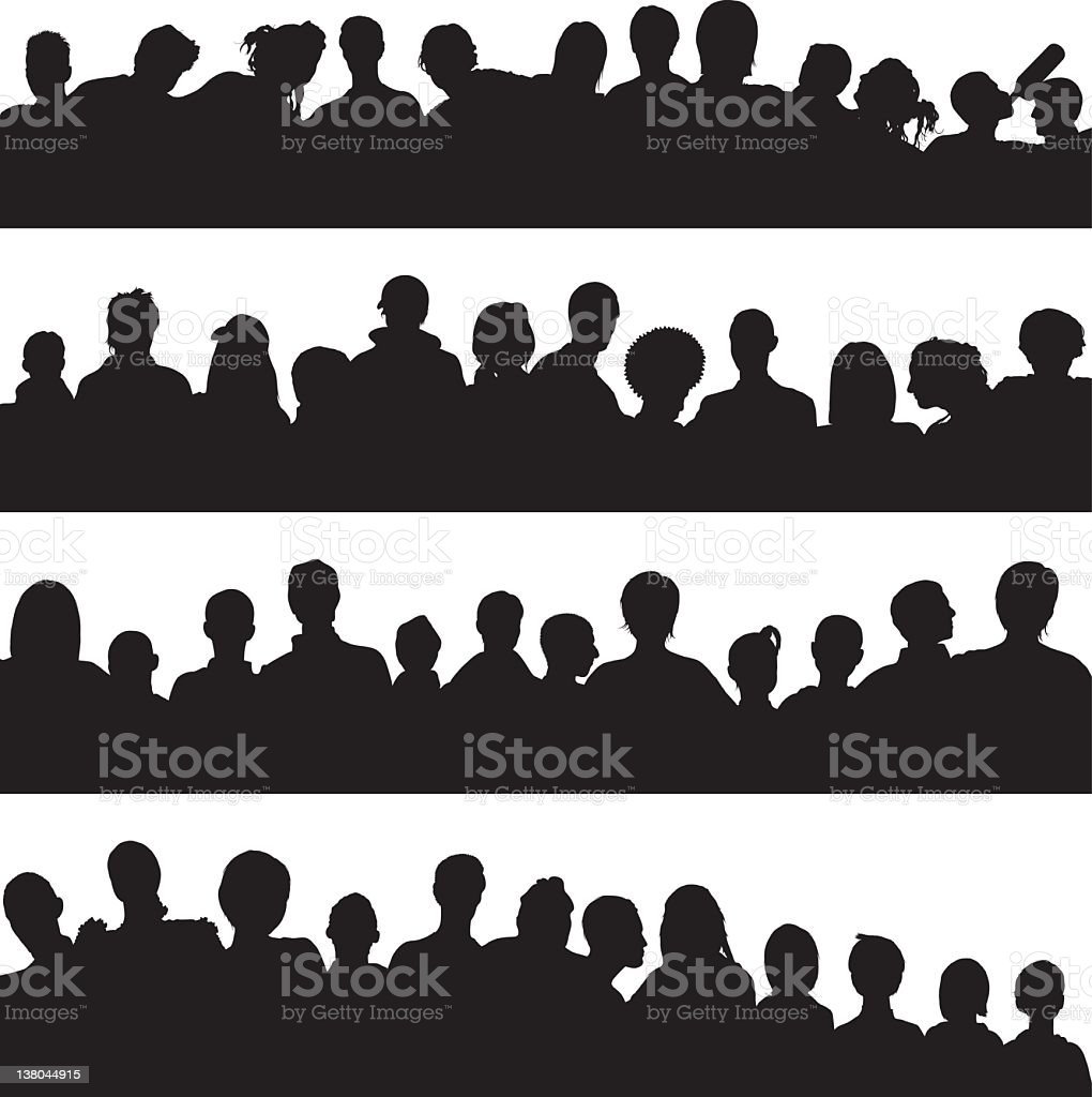 Quiet crowd vector art illustration
