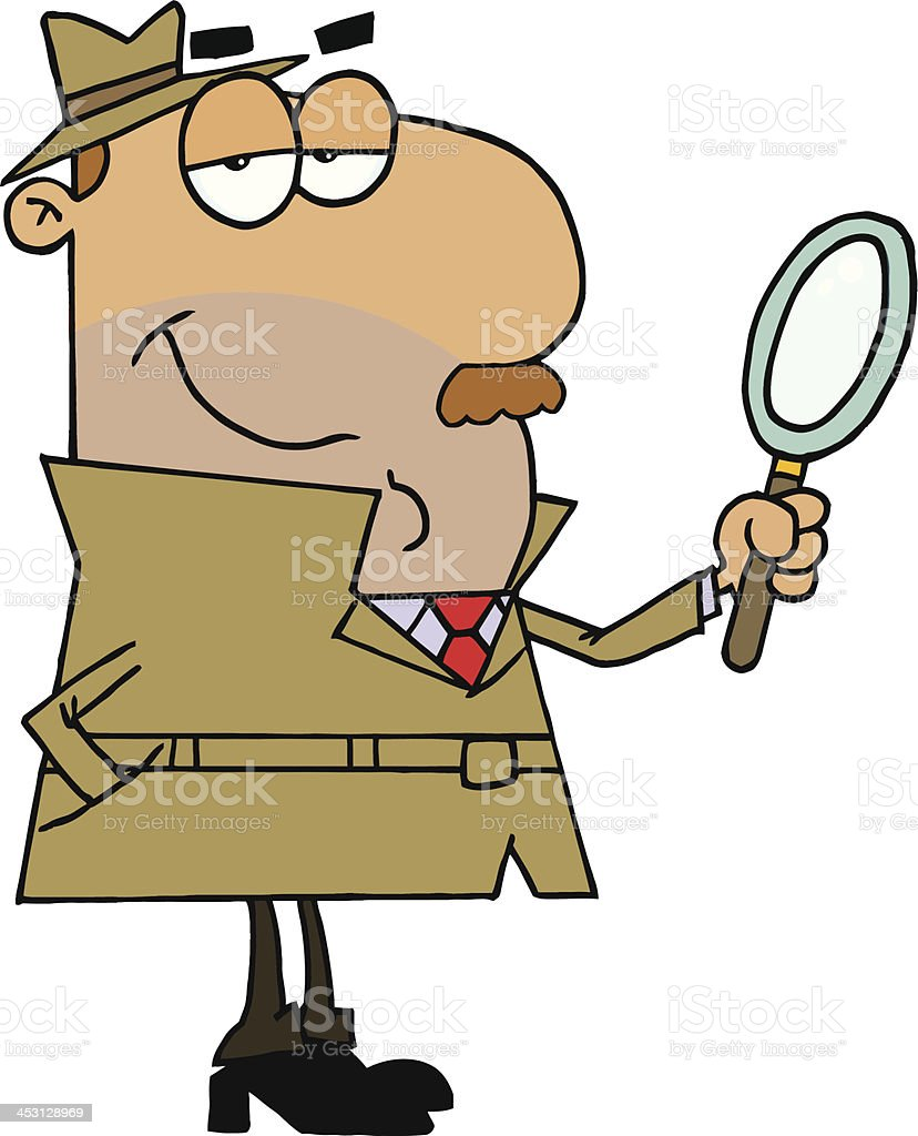 A quiet detective holding a magnifying glass  vector art illustration