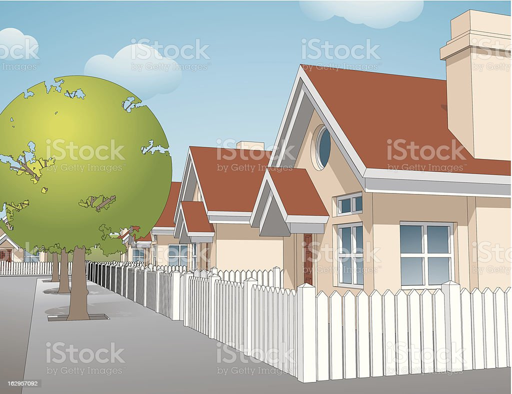 Quiet Neighborhood royalty-free stock vector art