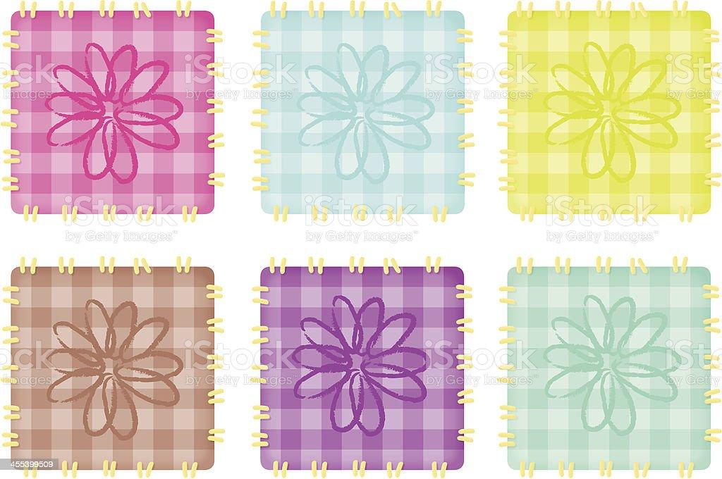 Quilt Flowers vector art illustration