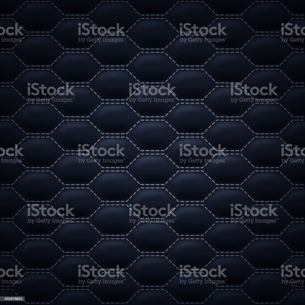 Quilted stitched background pattern. Black color vector art illustration