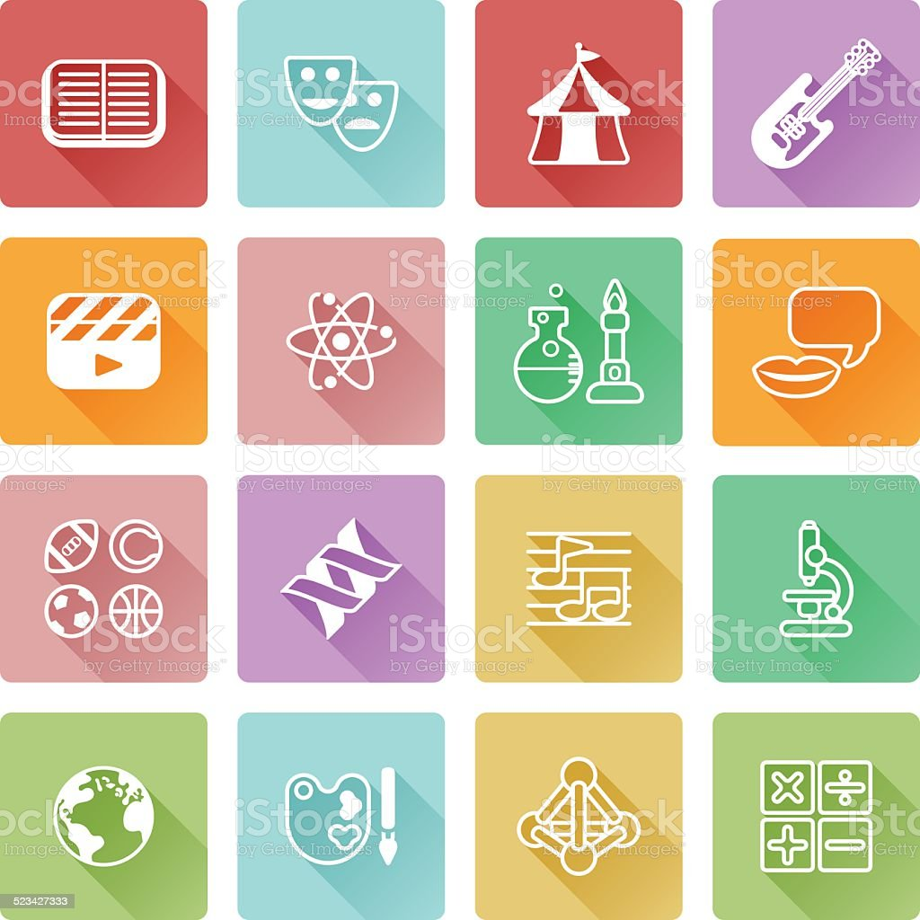 Quiz or education subject icons vector art illustration