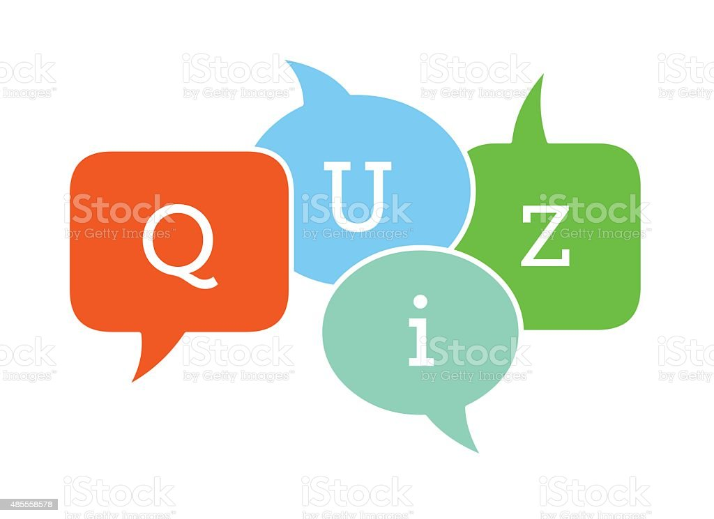 Quiz text in speech bubbles vector art illustration