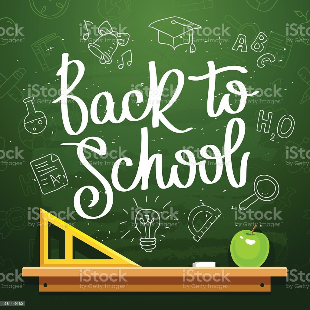 Quote 'Back to school'. Calligraphy. vector art illustration