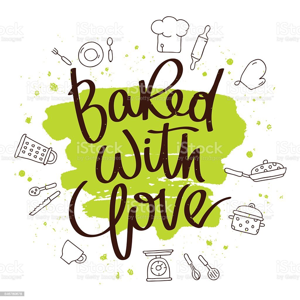 Quote Baked with love vector art illustration